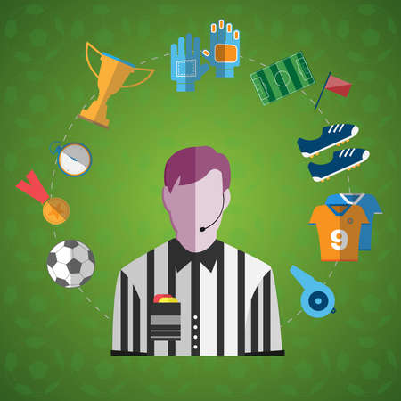 big timer: Big Soccer icon set. Referee with Microphone surrounded by Soccer Game items Digital background vector illustration. Illustration