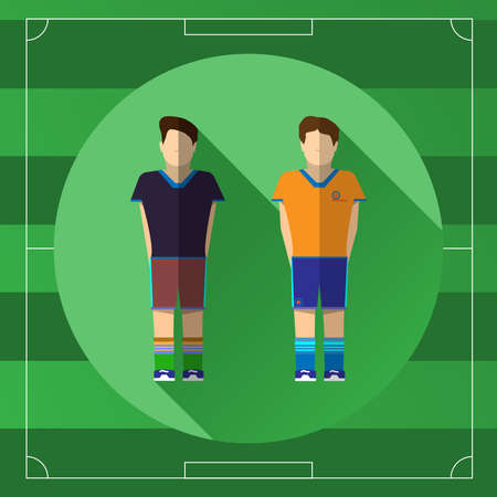 outdoor sports: Two Soccer Players in Different Team Sportswear on the Game Field template backdrop. Outdoor Sports digital background vector illustration Illustration