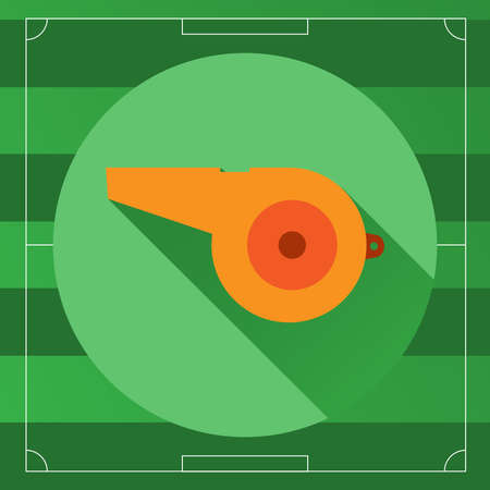 outdoor sports: Referee Whistle icon on the Soccer Game Field backdrop. Outdoor Sports digital background vector illustration.