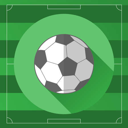 soccer field: Classic Soccer Ball on the Game Field template backdrop. Outdoor Sports digital background vector icon. Illustration