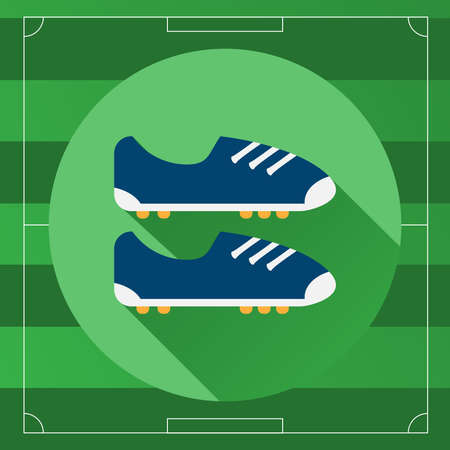 shoelaces: Classic Soccer Boots icon. Soccer Boots with Studs and Shoelaces on the Game Field backdrop. Outdoor Sports digital background vector illustration. Illustration
