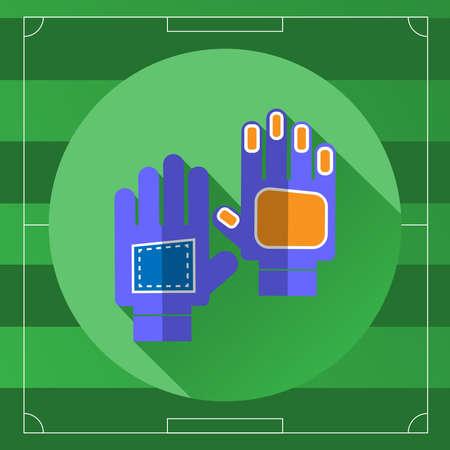 arquero futbol: Portero del fútbol azul Guantes icono en el telón de fondo Juego de Campo. Deportes al aire libre fondo digital ilustración vectorial