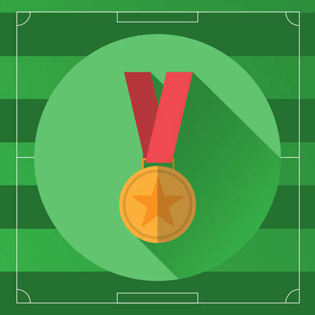 medal: Golden Medal in Red Ribbon icon. Gold Medal with Star on the Soccer Game Field backdrop. Digital background vector illustration.