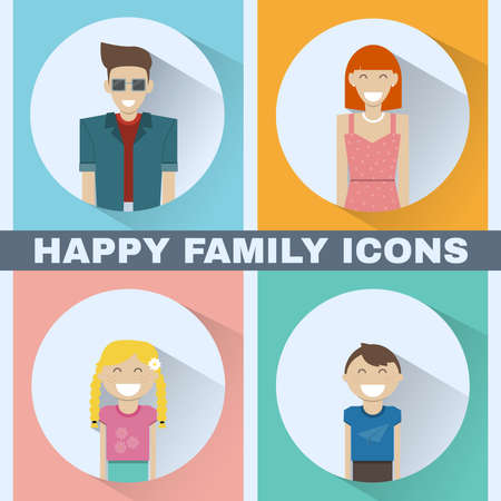 happy family concept: Happy Family concept. Colorful family portrait icon set. Mother, Father, Kids, Daughter, Son. People silhouettes. Digital background vector illustra