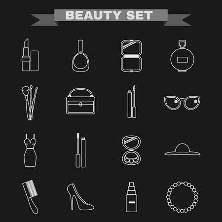 make up brushes: Beauty industry big vector icon set. Lipstick, Nail polish, Powder, Parfume, Make up Brushes, Cosmetics Case, Lipgloss, Sunglasses, Dress, Mascara, Eye Shadows, Hat, Comb, Shoes, Foundation, Necklace.