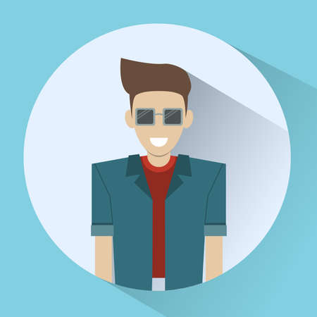 cool guy: Smiling Man round icon. Cool Guy in Sunglasses and T-shirt. Happy Fathers Day Greeting Card. Happy Family concept. Digital background vector illustration.