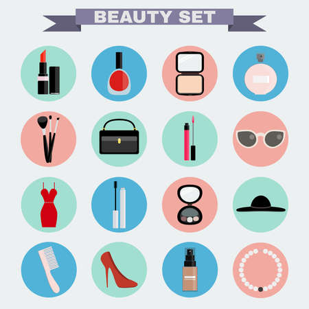 beauty make up: Beauty industry big vector icon set. Lipstick, Nail polish, Powder, Parfume, Make up Brushes, Cosmetics Case, Lipgloss, Sunglasses, Dress, Mascara, Eye Shadows, Hat, Comb, Shoes, Foundation, Necklace.