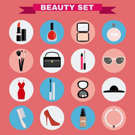 big hat: Beauty industry big vector icon set. Lipstick, Nail polish, Powder, Parfume, Make up Brushes, Cosmetics Case, Lipgloss, Sunglasses, Dress, Mascara, Eye Shadows, Hat, Comb, Shoes, Foundation, Necklace Illustration