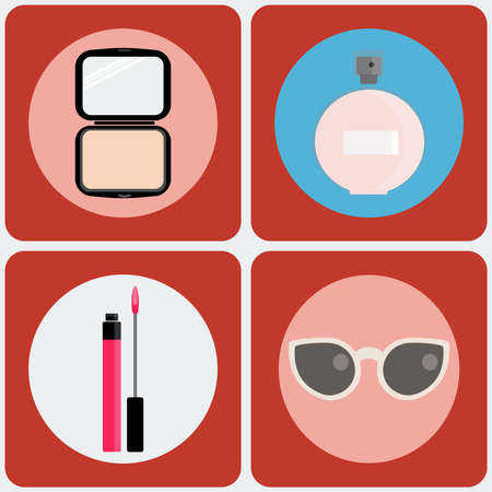 lip gloss: Feminine Beauty icon set. Powder box, Perfume, Lip gloss, Sunglasses. Digital background vector illustration.