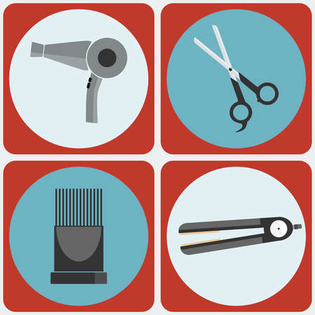 hairstyling: Feminine Beauty Hairstyling Tools icon set. Hair dryer, Scissors, Hairdryer Nozzle, Flat Iron. Professional hairdresser tools. Digital background vector illustration.