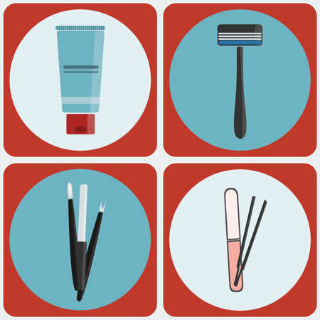 cuticle pusher: Beauty tools icon set. Shaving Cream, Razor. Manicure kit, Nail File, Cuticle pusher, remover. Tweezers. Digital background vector illustration.
