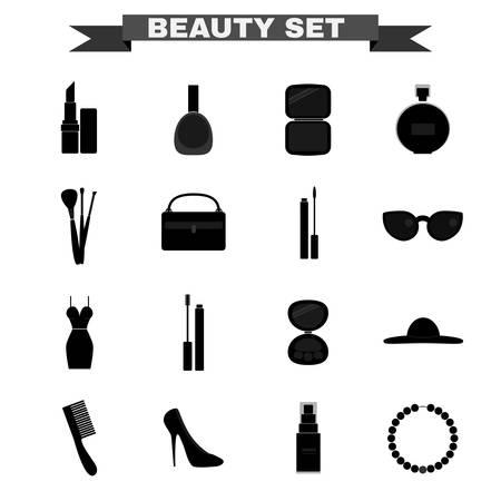 lipgloss: Beauty industry big vector icon set. Lipstick, Nail polish, Powder, Parfume, Make up Brushes, Cosmetics Case, Lipgloss, Sunglasses, Dress, Mascara, Eye Shadows, Hat, Comb, Shoes, Foundation, Necklace.