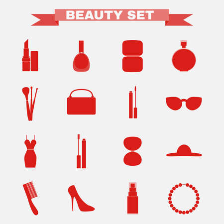 dress up: Beauty industry big vector icon set. Lipstick, Nail polish, Powder, Parfume, Make up Brushes, Cosmetics Case, Lipgloss, Sunglasses, Dress, Mascara, Eye Shadows, Hat, Comb, Shoes, Foundation, Necklace Illustration
