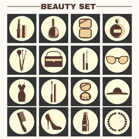 big hat: Beauty industry big vector icon set. Lipstick, Nail polish, Powder, Parfume, Make up Brushes, Cosmetics Case, Lipgloss, Sunglasses, Dress, Mascara, Eye Shadows, Hat, Comb, Shoes, Foundation, Necklace.