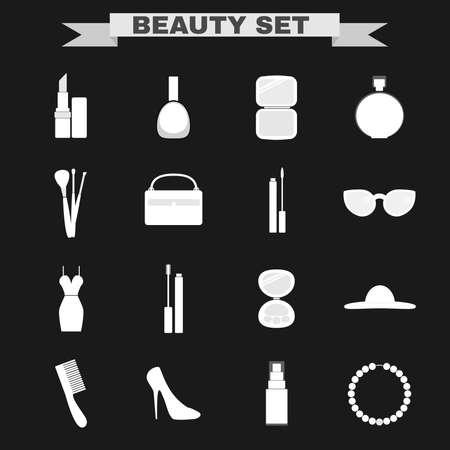 make up brushes: Beauty industry big vector icon set. Lipstick, Nail polish, Powder, Parfume, Make up Brushes, Cosmetics Case, Lipgloss, Sunglasses, Dress, Mascara, Eye Shadows, Hat, Comb, Shoes, Foundation, Necklace.