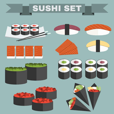 sushi chopsticks: Big icon set of sushi. Different sushi types platter with chopsticks. Sushi Rolls, Salmon, Tuna, Sushi Cones in Nori Sheets with Caviar and Avocado filling Colorful background vector illustration Illustration