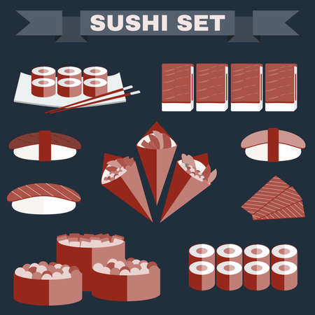 tekka: Big icon set of sushi. Different sushi types platter with chopsticks. Sushi Rolls, Salmon, Tuna, Sushi Cones in Nori Sheets with Caviar, Avocado filling. Colorful background vector illustration Illustration
