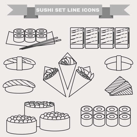 tekka: Big icon set of sushi. Different sushi types platter with chopsticks. Sushi Rolls, Salmon, Tuna, Sushi Cones in Nori Sheets with Caviar, Avocado filling. Black and white background vector illustration