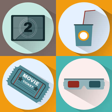 watching 3d: Cinema icon set. Watching Movie. Countdown screen, Cocktail Paper Glass with Tube, Movie Ticket, 3D Glasses. Digital background vector illustration. Illustration