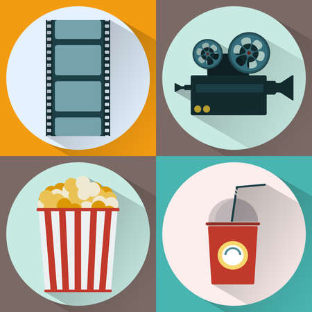 watching movie: Cinema icon set. Watching Movie. Film strip, Film Reel, Camera, Popcorn, Cocktail Paper Glass with Tube. Digital background vector illustration Illustration