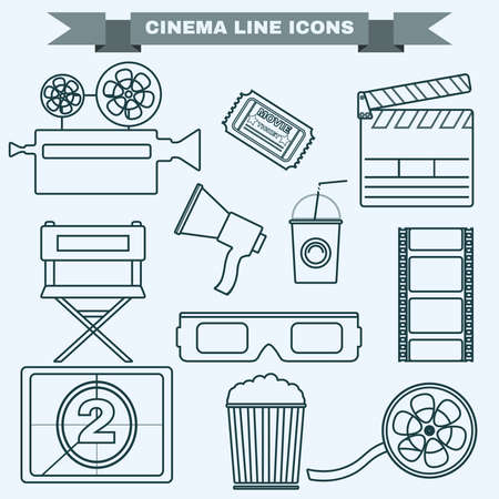 cinema screen: Cinema icon set. Making Movie. Camera, Movie  Ticket, Clapper board, Directors Seat, Loudhailer, Cocktail glass with tube, Film reel, 3D Glasses, Countdown screen, Popcorn. Vector illustration.