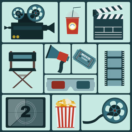 Cinema icon set. Making Movie. Camera, Movie  Ticket, Clapper board, Directors Seat, Loudhailer, Cocktail glass with tube, Film reel, 3D Glasses, Countdown screen, Popcorn. Vector illustration.