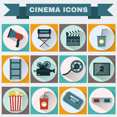 directors: Cinema icon set. Making Movie. Camera, Movie  Ticket, Clapper board, Directors Seat, Loudhailer, Cocktail glass with tube, Film reel, 3D Glasses, Countdown screen, Popcorn. Vector illustration.