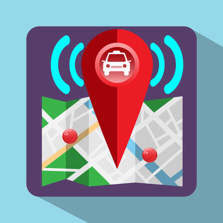 gps device: Gps Navigation Logo. Device for taxi drivers. Car, Map Pointer, Navigation Signal, Streets, Lake, Parks. Digital background vector illustration