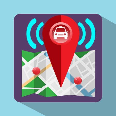 chauffeurs: Logo de navigation GPS. Dispositif pour les chauffeurs de taxi. Car, pointeur de carte, navigation Signal, les rues, les parcs, le lac. Digital background illustration vectorielle