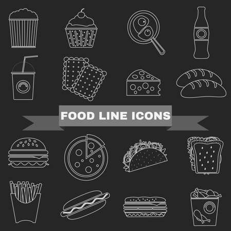 food drink: Big Black & White Line Fast Food and Snacks Vector Icon Set. Cheeseburger, Popcorn, French Fries, Hamburger, Soda Drink, Hot Dog, Pizza, Muffin, Taco. Digital background vector illustration Illustration