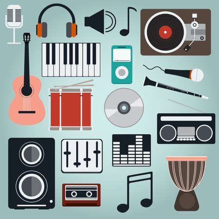 Music Instruments and Gadgets Big icon set. Microphone, Headphones, Tape, Player, Clarinet, Guitar, Drums, Electric Piano, Cd disk, Equalizer, Loudspeakers, Djembe. Digital vector illustration. Ilustracja