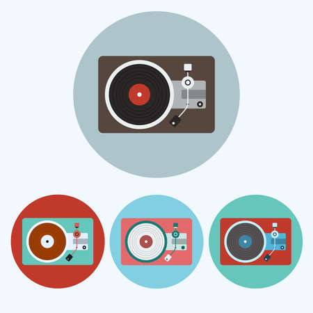 lp: Record Player icon set. Colorful Lp Players round icons isolated on white. Digital background vector illustration.
