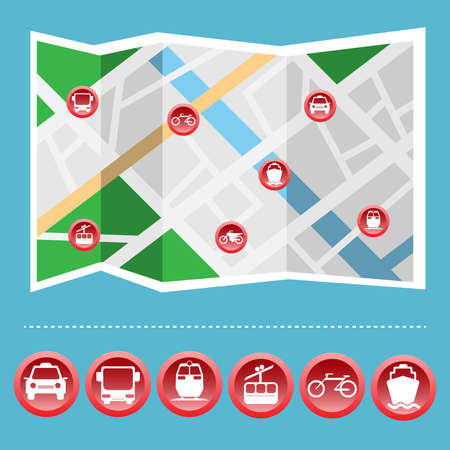 bus station: Transportation Big Icon Set on the Map. Car, Bus, Station, Train, Cable way, Motorcycle, Yacht, Harbor, Bicycle Road. Digital background vector illustration