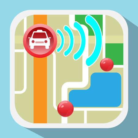 Gps Navigation Logo. Device for taxi drivers. Car, Map Pointer, Navigation Signal, Streets, Lake, Parks. Digital background vector illustration