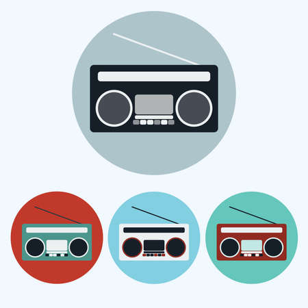 boombox: Old Vintage Boombox icon set. Colorful Tape Recorder round icons isolated on white. Digital background vector illustration