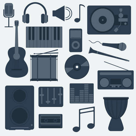 clarinet player: Music Instruments and Gadgets Big icon set. Microphone, Headphones, Tape, Player, Clarinet, Guitar, Drums, Electric Piano, Cd disk, Equalizer, Loudspeakers, Djembe. Digital vector illustration. Illustration