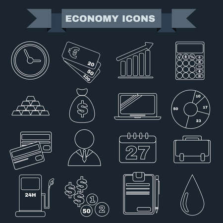 economic recovery: Economy icon set. Black and white Business icons. Digital background vector illustration. Illustration