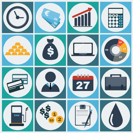 economic recovery: Economy icon set. Colorful Business icons. Digital background vector illustration.