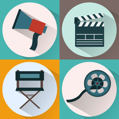 directors: Cinema icon set. Making Movie. Loudspeaker, Clapperboard, Directors Chair, Film roll. Digital background vector illustration