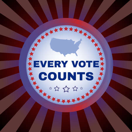 Election Day Campaign Ad Flyer. Every Vote Counts Social Promotion Banner. American Flag's Symbolic Elements. Digital vector illustration. Ilustracja