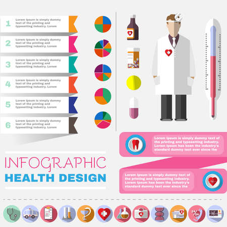 ent: Colorful Healthcare Infographic Template. Medical Vector Icons Set. Otolaryngologist. Doctor in white coat with frontal reflector. Digital background vector illustration. Illustration