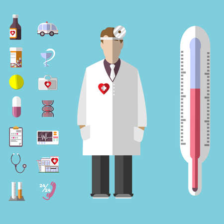 first rate: Healthcare. Colorful Medical Vector Icons Set. Otolaryngologist. Doctor in white coat with frontal reflector. Digital background vector illustration.