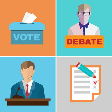 candidates: Elections Campaign. Candidates Debates. Studio full of people. Image Template for Flyer or Banner. Digital background vector illustration.