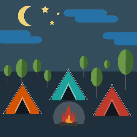 Camping in Wild Nature at Night. Blue Tent with Bonfire surrounded by Trees, Cloudy Skies with Half Moon and Stars. Digital background flat vector illustration. Ilustracja