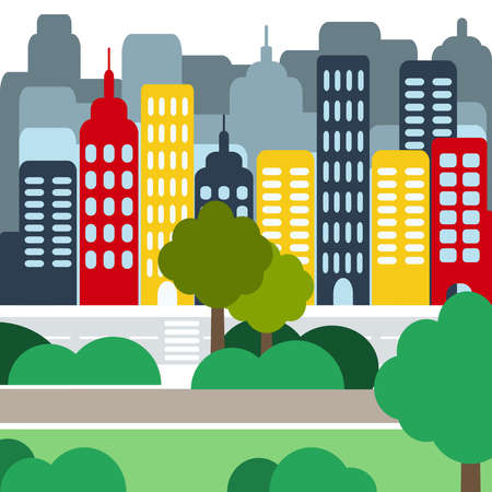 speedway park: Cityscape with Buildings, Skyscrapers and Parks. Digital background flat vector illustration.