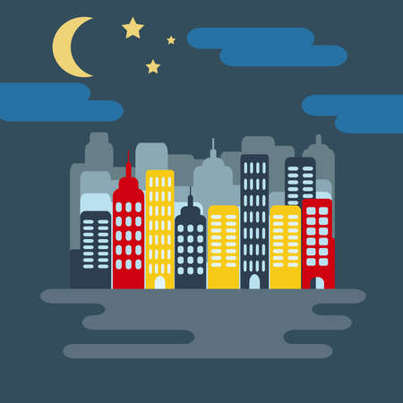 tar paper: Cityscape with Buildings, Skyscrapers, Starry Sky with Half Moon at Night. Digital background flat vector illustration. Illustration