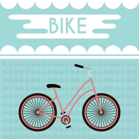 cycles: Bicicleta rosada contra el tel�n de fondo de la turquesa con los ciclos de siluetas en ella. mensaje de la bici Promoci�n Banner. Concepto de estilo de vida saludable. ilustraci�n vectorial de fondo digital.