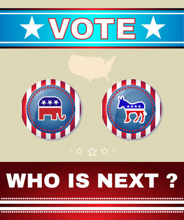 democratic donkey: Who is Next President - Election Day 2016 Campaign Social Promotion Banner. Elephant versus Donkey. American Flags Symbolic Elements - Stripes and Stars. Election Debates Campaign vector Ad Flyer.