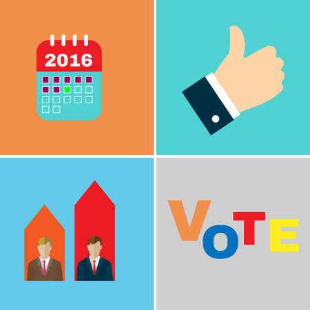 candidates: Elections Campaign icon set. Candidates Debates. Election Day Calendar mark. Vote, Give like for Candidates. Digital background vector illustration.