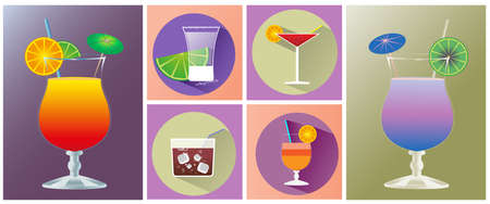 shot glass: Cocktail glasses. Cocktail glass with juicy drink, slice of orange and umbrella. Drink in Square Glass with ice cubes and tube. Shot glass with slice of lime. Drink time Vector icon set Illustration